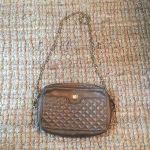 Handbags - Vintage Ganson brown and gold quilted purse